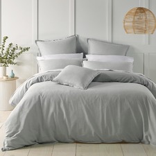 Silver Wellington Linen-Blend Quilt Cover Set