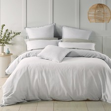 White Wellington Linen-Blend Quilt Cover Set