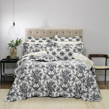 Black Floral Ashton Bedspread Set