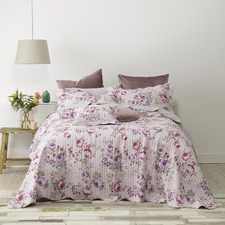 Lilac Dahlia Cotton Bedspread Set
