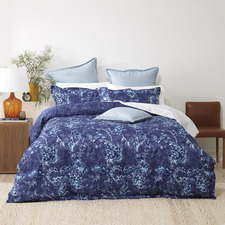 Blue Floral Canterbury Waffle Quilt Cover Set