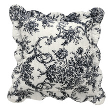 Black Floral Ashton Square Cushion