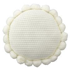 Ivory Pom Pom Round Cushion