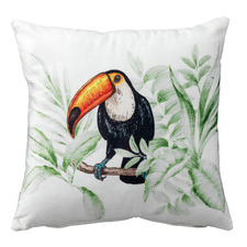 Green Toucan Velvet Cushion