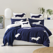 Indigo Dachshund Cotton Quilt Cover Set