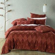 Terracotta Jaipur Cotton Chenille Quilt Cover Set