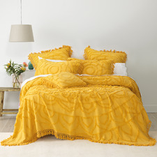 Mustard Santorini Cotton Chenille Bedspread Set