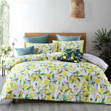 White Lemons Cotton Sateen Quilt Cover Set