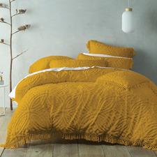 Mustard Savannah Cotton Chenille Quilt Cover Set