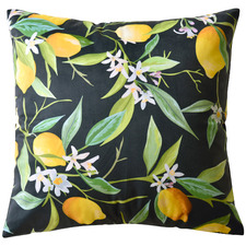 Black Lemons Velvet Cushion