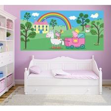 Peppa Pig Rainbow Castle Half Wall Mural