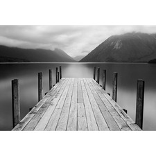 Black & White Tranquil Jetty Canvas