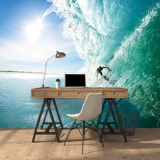 Surfer Under Wave Wall Mural