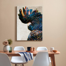 Black Cockatoo Side Grunge Printed Wall Art