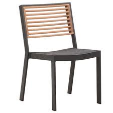 Armless St. Lucia Aluminium & Teak Outdoor Dining Chair