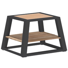 St. Lucia Metal & Teak Outdoor Side Table