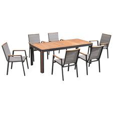 6 Seater Madrid Aluminium & Teak Outdoor Dining Set