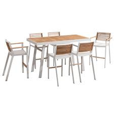 6 Seater St. Lucia Aluminium & Teak Outdoor Bar Table Set