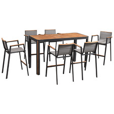 6 seater Madrid Aluminium & Teak Outdoor Bar Table Set