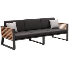 Charcoal Caribbean 3 Seater Aluminium & Teak Outdoor Sofa