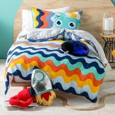 Blue Wavelength Cotton Quilt Cover Set