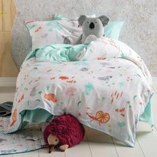 Aqua Aussie Friends Cotton Quilt Cover Set