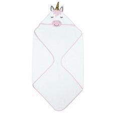 Kids' White Ursula Unicorn Hooded Cotton Bath Towel