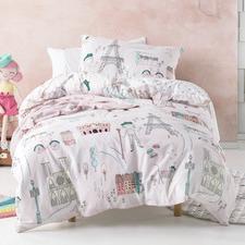Pink I Dream Of Paris Cotton Quilt Cover Set