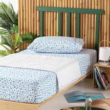 White Oopsy Cotton Cot Mattress Protector