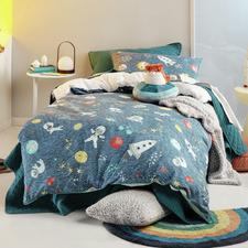 Blue Space Race Cotton Reversible Quilt Cover Set