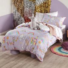 Lilac Unicorniverse Cotton Reversible Quilt Cover Set