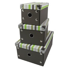 Set Of 3 Foldable Storage Boxes Stripes