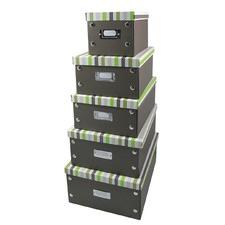 Set Of 5 Foldable Storage Boxes Stripes