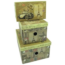 Set Of 3 Foldable Storage Boxes Stamps
