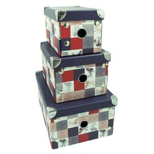 Set Of 3 Foldable Storage Boxes Tartan