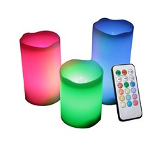 Flameless LED Candle Set Multi Colour - 3 Piece