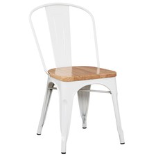 Tolix Replica Chair with Timber Seat (Set of 4)
