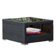 Amalfi PE Rattan Coffee Table With Glass Top
