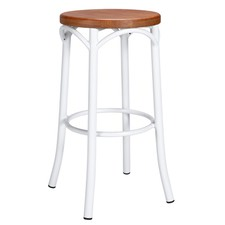 Replica Steel Bentwood Bar Stool with Timber Seat