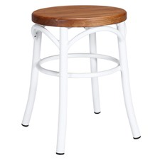 Replica Steel Bentwood Stool with Timber Seat