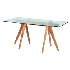 Rectangular Clear Top Trestle Dining Table