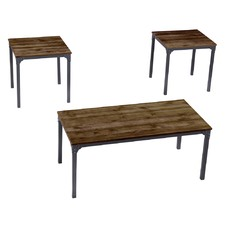 3 Piece Rivet Coffee & Side Tables Set