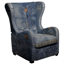 Denim Wingback Armchair