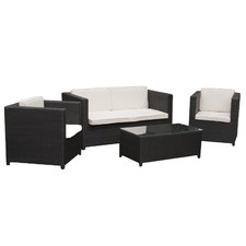 4 Piece Sorrento PE Outdoor Wicker Lounge Set