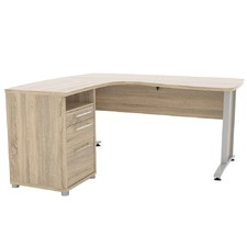 Prima Corner Desk with 3 Drawer Cabinet