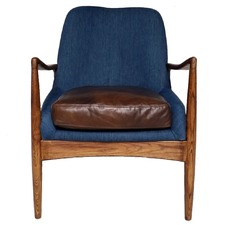 Brown Leather & Denim Demi Armchair