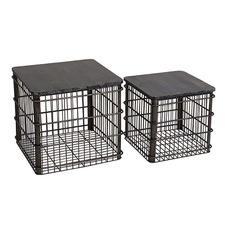 Distressed Black Baskets With Wooden Lids (Set of 2)
