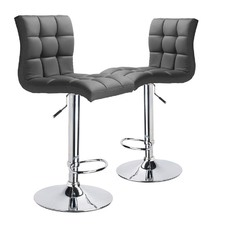 Adjustable Martini High Back Swivel Bar Stools (Set of 2)