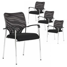 Set of 4 Stackable Mesh Meeting Chairs