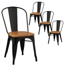 Tolix Premium Chair Timber Seat Xavier Pauchard Reproduction Pack (Set of 4)